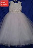 Платье нарядное бальное детское 9-10 лет белое