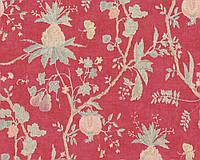 Обои ярко красные с узором растений плодов и цветов 367196