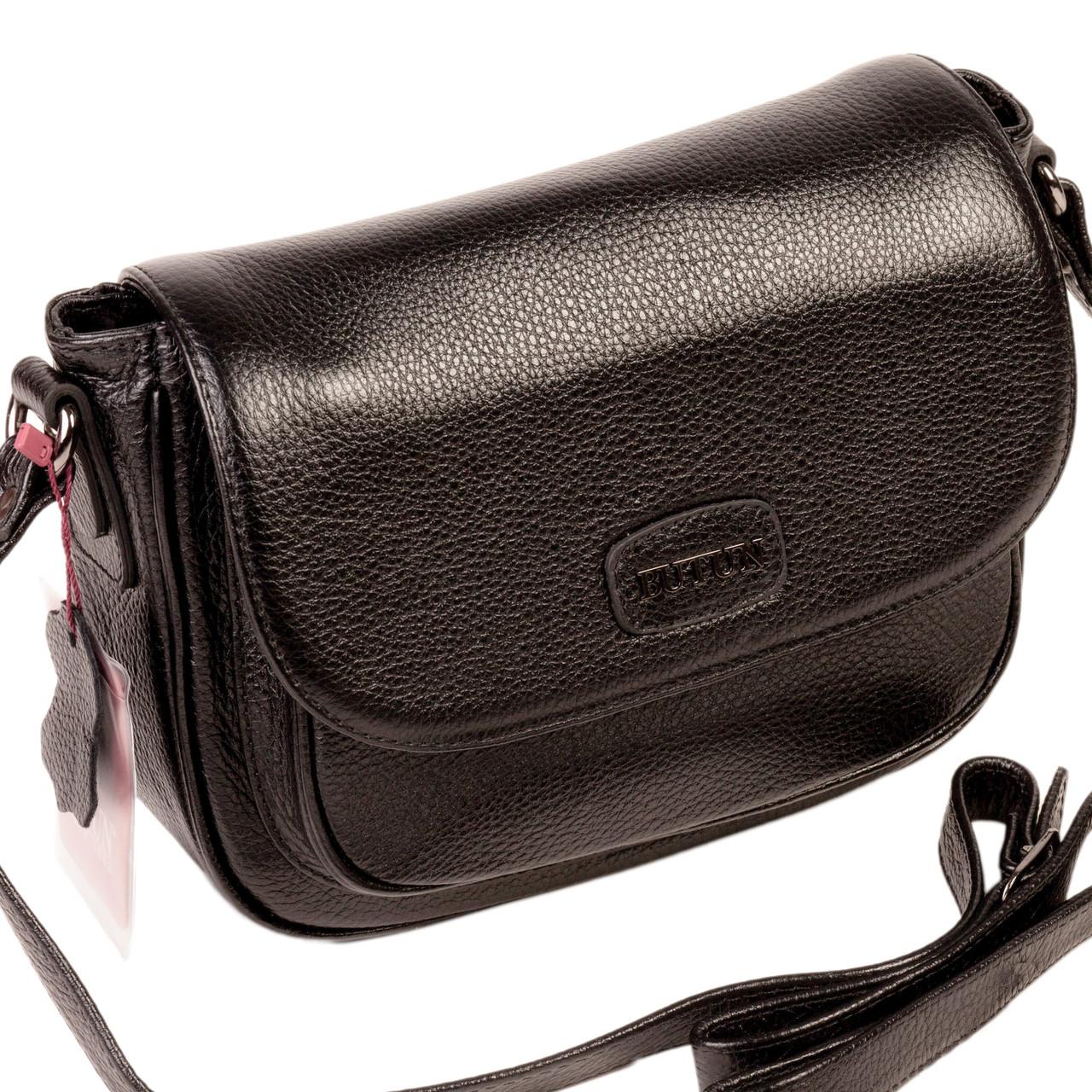Женская сумка кожаная BUTUN 3100-004-001 кросс-боди черная