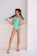 Симпатичный детский купальник на девочку салатовый