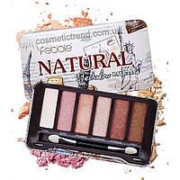 Палитра 6 теней для макияжа глаз Febble Natural Eyeshadow Palette 1мат+5 шиммер (металлический футляр)
