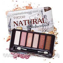 Палітра 6 тіней для макіяжу очей Febble Natural Eyeshadow Palette 1мат+5 шімер (металевий футляр)