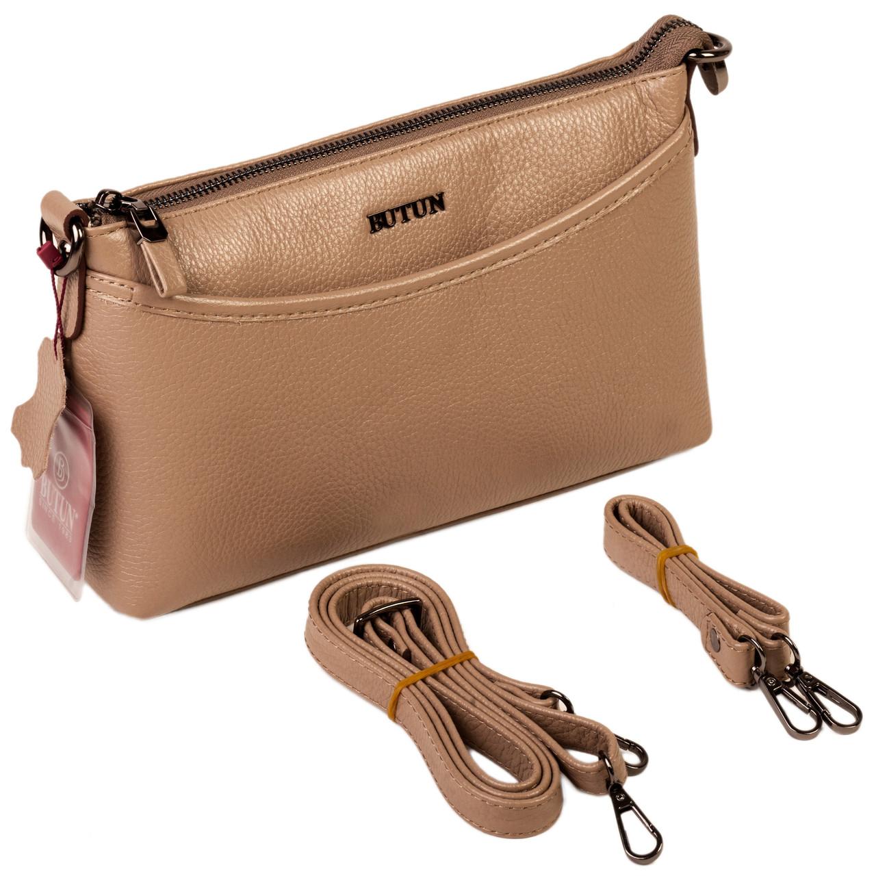 Женская сумка кожаная BUTUN 3107-004-015 кросс-боди бежевая