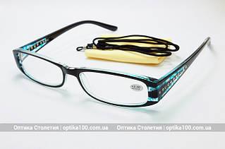 Узкие женские очки для зрения с диоптриями (+). Голубые