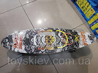 Скейт Пенни борд (Penny board) пениборд с рисунком, ручкой светящиеся колёса 32035-5