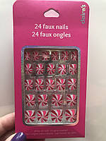 Ногти детские накладные яркие красные с розовым и белым блестящие фирмы Claire's ( оригинал )