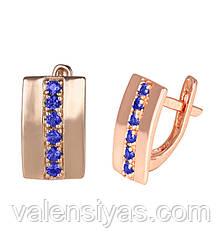 Серьги серебряные с синими фианитами  С3ФС/034