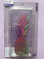 Чехол на телефон iPhone 6/7 прозрачный силиконовый с ананасом фирмы Claire's ( оригинал )