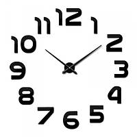 Большие бескаркасные часы 3D настенные 002В / диаметр 50-90см / Чёрные