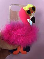 """Чехол на телефон iPhone 6/7 прозрачный силиконовый """"Розовый фламинго» фирмы Claire's (оригинал )"""