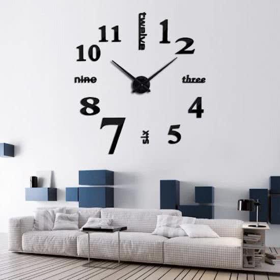 3Д Часы настенные большого диаметра  Слова 001Вs / диаметр 50-120см / Чёрные
