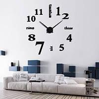 3Д Часы настенные большого диаметра  001В / диаметр 50-90см / Чёрные