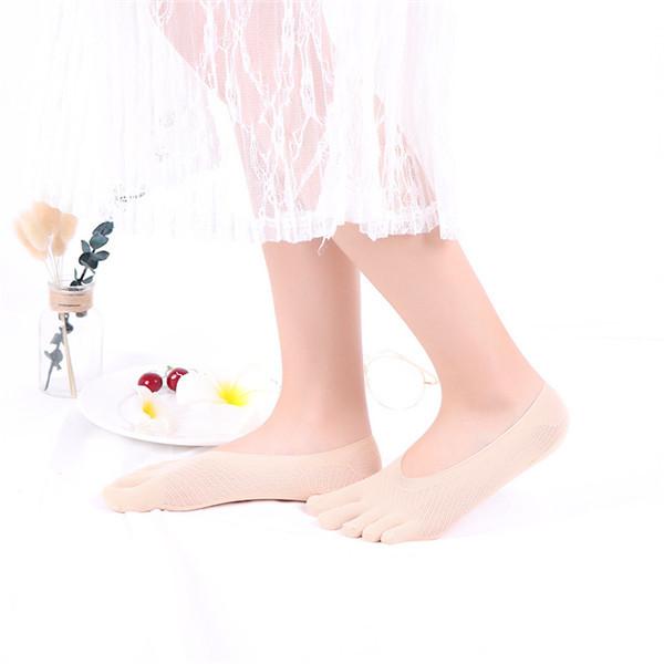 Женское Лето Нескользящий Силиконовый Лодка Носки Дышащий кристалл Пять Трубка Носки - 1TopShop