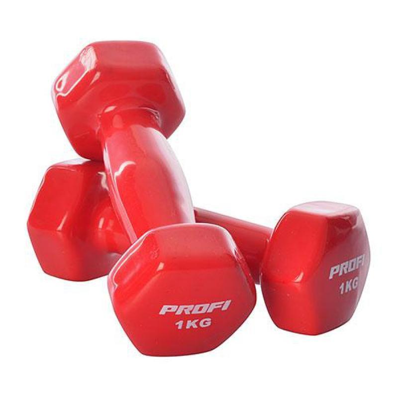 Гантель Profi M 0289 с виниловым покрытием 1 кг Красный (intM 0289-3)