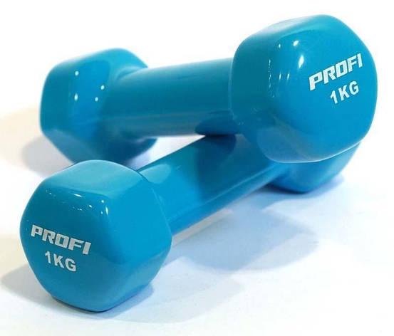 Гантель Profi M 0289 с виниловым покрытием 1 кг Синий (intM 0289-2), фото 2