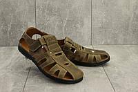 Мужские кожаные босоножки Clarks 158 (весна/осень, мужские, натуральная кожа, оливковый)