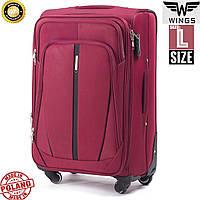 Большой качественный дорожный  чемодан на 4 колесах бордовый фирма  Wings Одесса Украина