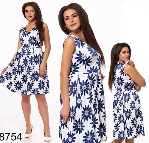 d887e02be9c Летнее цветочное платье без рукавов (белый) 828754 - СТИЛЬНАЯ ДЕВУШКА интернет  магазин модной женской