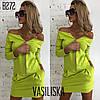 Платье женское модное открытые плечи на молнии с карманами разные цвета Smv3143