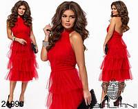 Красное вечернее платье с открытой спиной, фатиновая  юбка