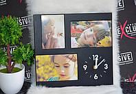 Деревянная рамка с часами на 3 фото, фото 1