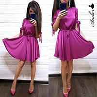 Платье красивое женское из шелка короткий рукав и юбка солнце Smma3145, фото 1