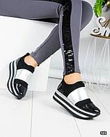 Женские кроссовки на толстой подошве в цвете черный+серебро, из натуральной замши и лаковой кожи
