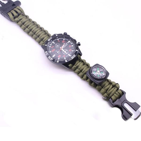IPRee®6В1EDCParacord Watch На открытом воздухе Браслет выживания Инструмент Набор Компас Нож Flintstone Whistle - 1TopShop