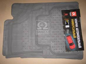 Килим гумовий UNI килимки салону універсальні комплект 5шт ДК універсальні Килимки BURAN сірі ДК DK-3124GR