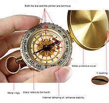 НаоткрытомвоздухеПортативныйлатунныйкарман G50 Медь Золотой компас Световая навигационная панель - 1TopShop, фото 3