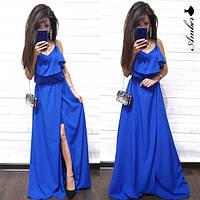 Платье в пол женское стильное с воланом и разрезом яркие цвета Smma3149