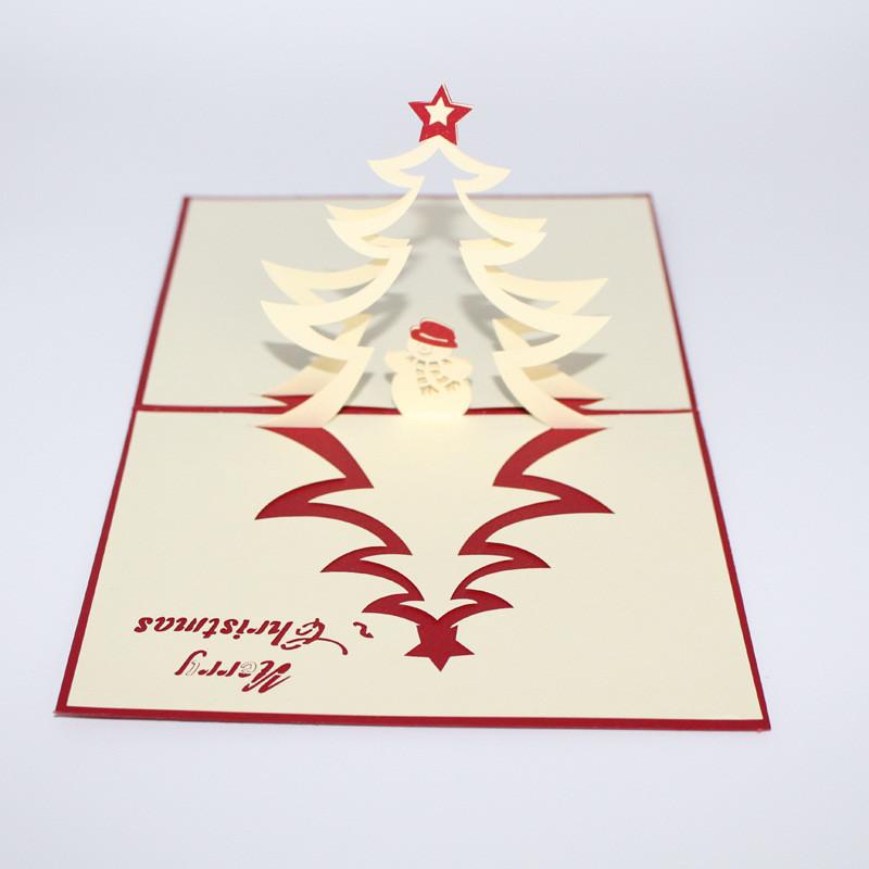 Рождественская елка и снеговик 3D Pop Up Поздравительная открытка Рождественские подарки Party Greeting Card - 1TopShop