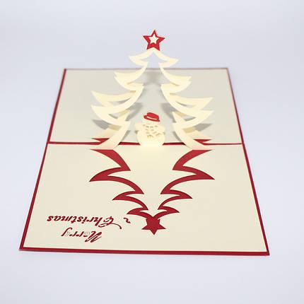 Рождественская елка и снеговик 3D Pop Up Поздравительная открытка Рождественские подарки Party Greeting Card - 1TopShop, фото 2