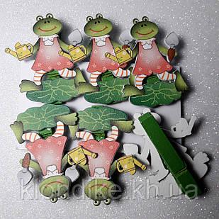 Декоративные мини прищепки (Набор 6шт) Лягушки