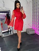 e36763cc698 Красное Платье с Поясом и Цельнокроеным Рукавом — в Категории ...