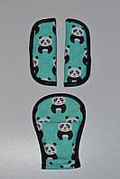 Накладки на ремни безопасности панды на мятном