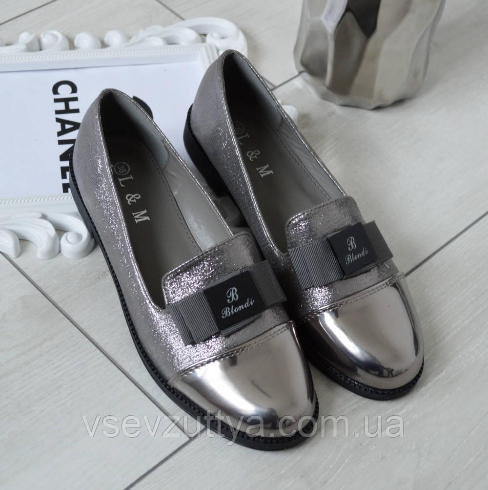 3dea185a71ab8e Туфлі жіночі низькі срібні екошкіра з лаковим носком. Тільки 36,37,39,40  розмір!