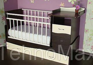 Детская кроватка трансформер Волна с пеленатором венге с белым