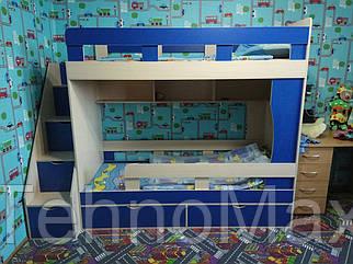 """Двухъярусная кровать """"Модерн"""" с боковой лестницей синий + дуб молочнім"""