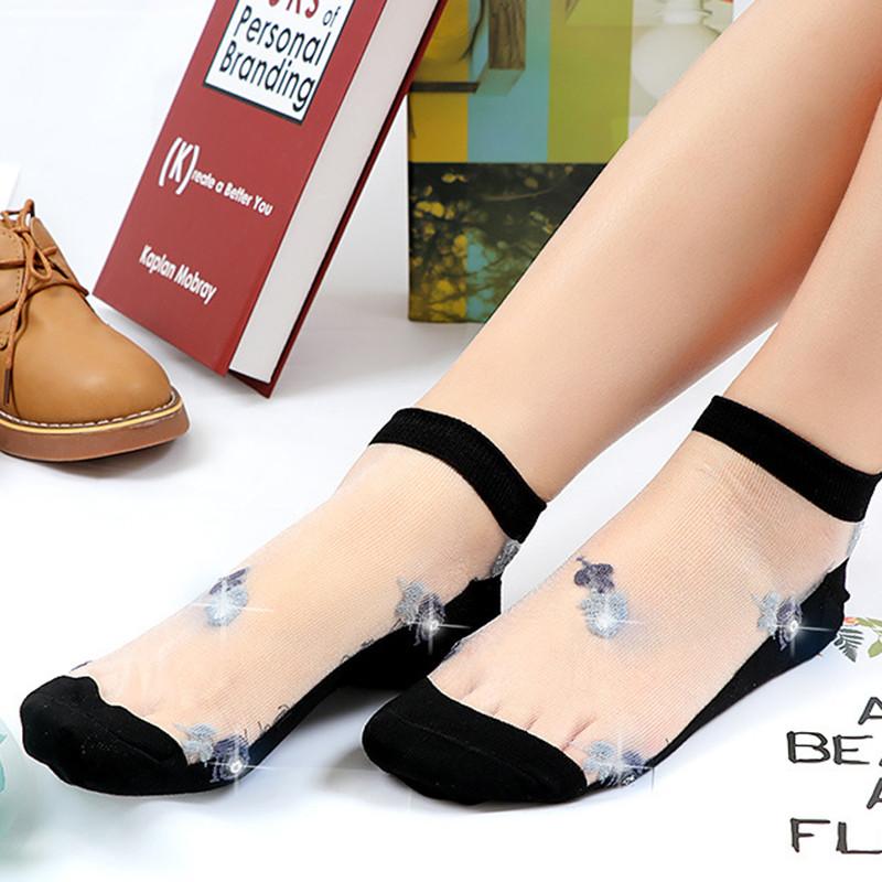 Женское Ультратонкий дышащий печатный вышитый хлопчатобумажный шнурок с низким вырезом Non Slip Sock - 1TopShop