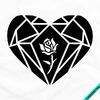 Переводки на бейсболки термо Сердце с розой [Свой размер и материалы в ассортименте]