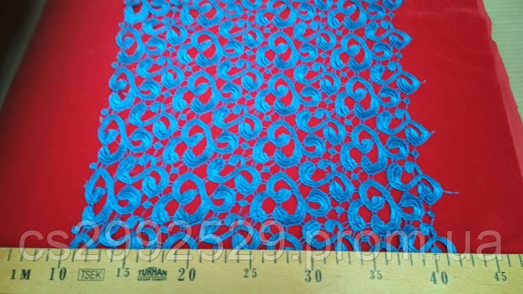 Кружево макраме завитки декоративные 20 метров. Цвет василёк, фото 2