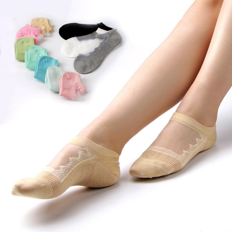 Женское Пустотелый дышащий хлопок Кружева Низкий разрез Спортивный Non Slip Sock - 1TopShop