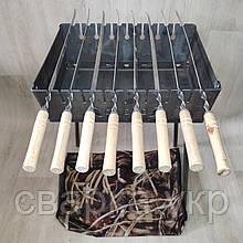 Мангал Огонёк раскладной на 8 шампуров 2мм чемодан с шампурами 8 шт и чехлом С,Е,В