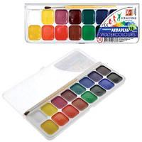 """Краска акварель """"Классика"""" 16 цветов Луч в пластиковой упаковке с прозрачной крышкой"""