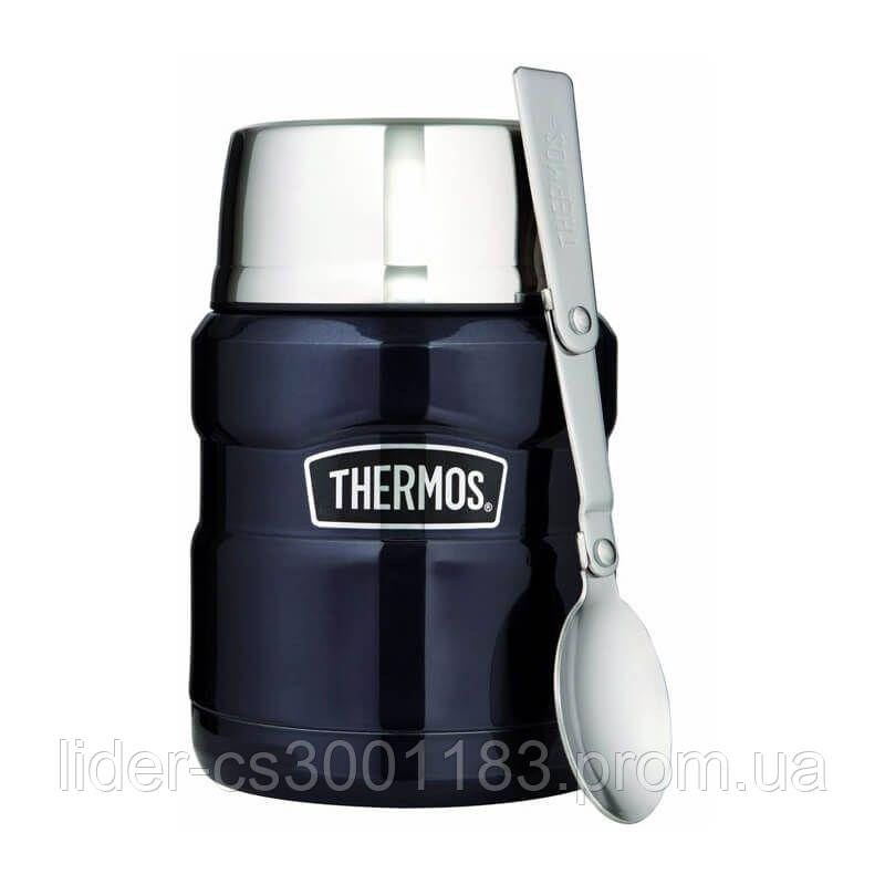Термос для еды с ложкой Thermos Stainless King Food Flask, Midnight Blue, 470 ml 173020