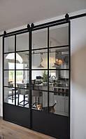 Раздвижные двери в стиле Лофт с амбарным механизмом
