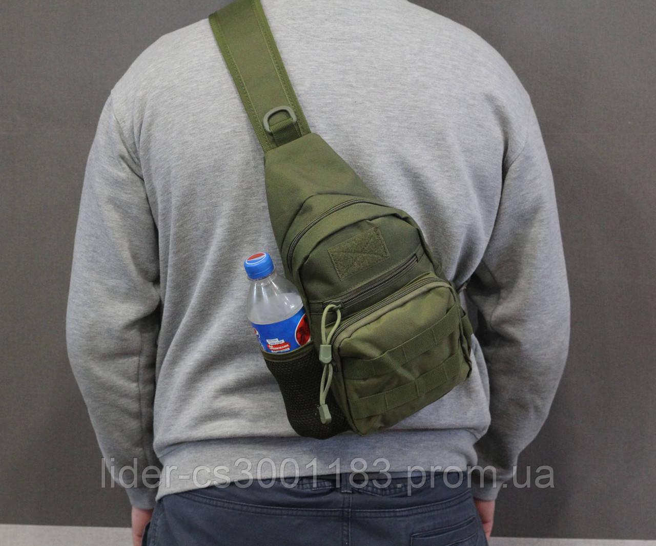 Тактическая, штурмовая, военная, универсальная, городская сумка на 5-6 литров с системой M.O.L.L.E  s4 (олива)