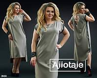 Красивое свободное  Платье   50-52.54-56 Цвет  чёрный, мята, мокко, желтый, красный, фото 1