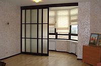 Подвесные раздвижные двери на балкон. Профиль Венге и стекло сатин.